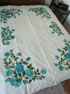 New Heavy Linen Kitchen Tablecloth Vintage 50 Th Printed Floral Turquoise Roses