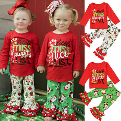 Christmas Newborn Baby Girls Xmas Tops+Pants 2PCS Outfits Costume Clothes Set