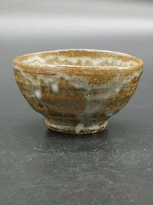 Japanese Hagi-ware Color Brown Pottery Tea Bowl Tea Cup Matcha Signed