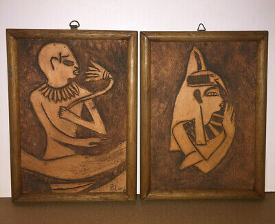 2  Antique Terracotta Carved Wall Plaque, Art, Egyptian Art Signed, Very Nice