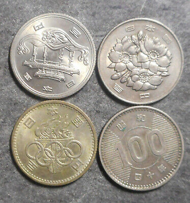 Japan 4 different  100 Yen coins inc better grades to UNC and 2 are silver