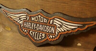 Cast Iron Harley Davidson Motorcycles Sign Harley Dealer Shield Plaque Usa Rare