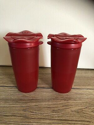 Tupperware Salt And Pepper Shakers Red 13 Cm Height