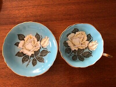 Paragon Blue and White Rose Tea Cup and Saucer