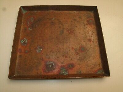 Antique Arts & Crafts Hand Hammered Copper Tray Catchall Key Desk Ink Tray