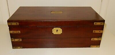 Very Large Heavy Antique Mahogany Brass Bound Campaign Writing Slope (E7)