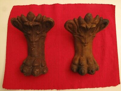 "Pair Of Large Cast Iron Tub Feet  Legs Lion's Paw Ornate Victorian 8"" Fabulous"