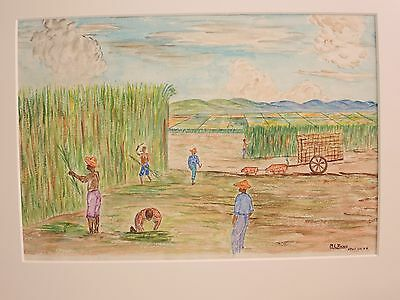 Naive Primitive Folk Art Men In The Cane Field Colored Pencil Crayon Mid Century