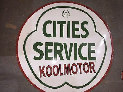 """Old Cities Service Koolmotor Enamel Porcelain Sign SIZE 36"""" INCHES"""