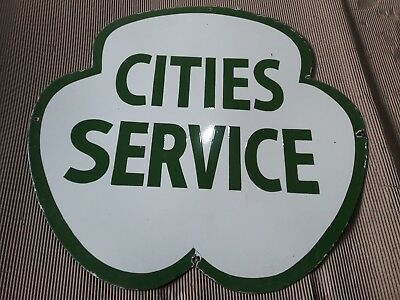 """Porcelain cities Service sign SIZE 30"""" x 30"""" inches 2 sided"""