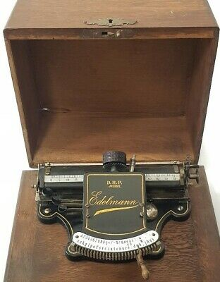 Antigua maquina de escribir THE EDELMANN+TAPA index rare circa 1902 TYPEWRITER