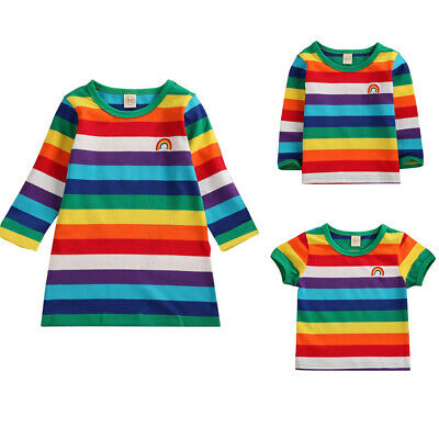 AU Toddler Kid Baby Girl T-shirt Rainbow Striped Top Casual Party Dress Clothes