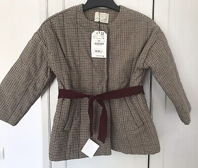 BNWT Zara Girls Tweed Quilted Jacket Age 9 Yrs