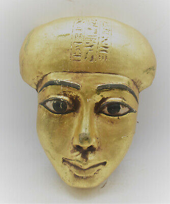 Museum Quality Ancient Egyptian Gold Gilded Stone Mummy Mask With Heiroglyphs