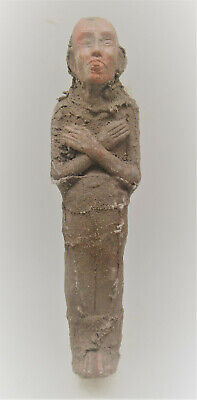 Rare Ancient Egyptian Ushabti Shabti Covered In Coptic Cloth