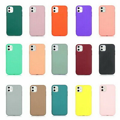 For Apple iPhone 11 Pro MAX XS XR X 8 7 Pure Color Silicone Soft Slim Case Cover
