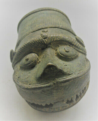 Circa 3000Bce Ancient Western Asiatic Bronze Finial In The Form Of A Beast Head