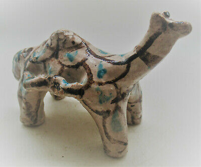 Rare Ancient Bactrian Glazed Ceramic Camel Statue Circa 100Bc