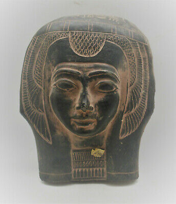 Rare Ancient Egyptian Black Glazed Stone Mummy Mask Very Beautiful