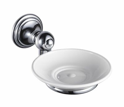 Haceka Allure Soap Dish with Bracket Brass Chrome-Plated with Porcelain Bowl