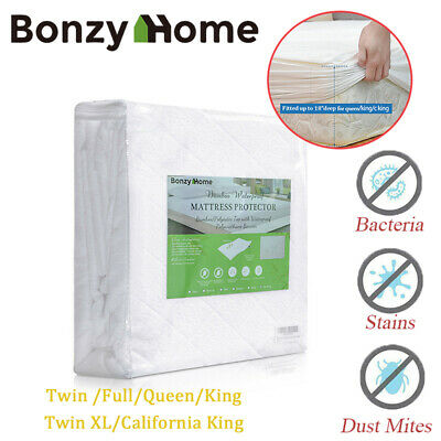Bamboo Mattress Protector Breathable Comfortable Deep Cover Pad Waterproof Queen