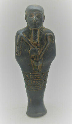 Beautiful Ancient Egyptian Black Glazed Ushabti Shabti In The Form Of Ptah