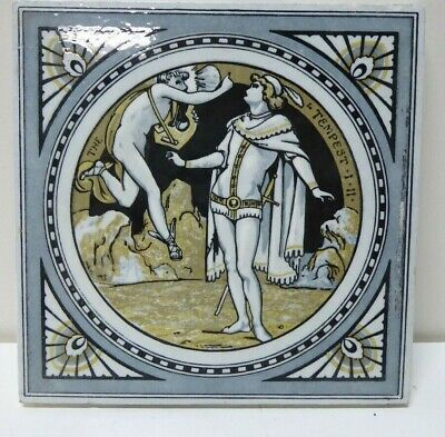 Antique Tile Shakespeare Series Painted Minton Works Stoke On Trent The Tempest