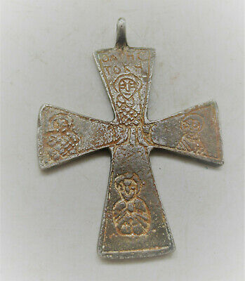Ancient Byzantine Silver Crusaders Cross Pendant With Saint Depictions