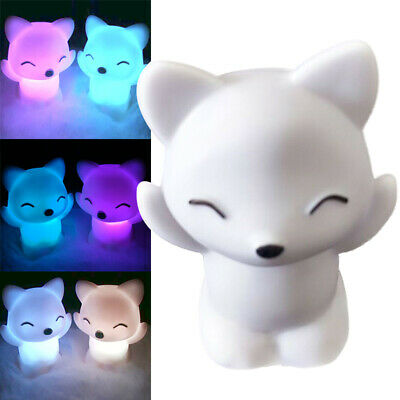 Lovely Foxes Shape LED Night Light Lamp 7 Changing Colors Energy Saving