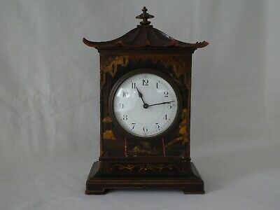 Antique Chinoiserie Pagoda Shaped Lacquered Mantle Clock