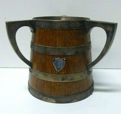 Antique Oak Barrel Loving Cup Champagne Bottle Ice Bucket Silver Plate Trophy
