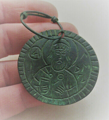 Ancient Byzantine Bronze Religious Pendant With Depiction Of Saint And Loop