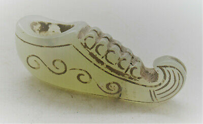 Interesting Old Chinese Jade Carved Shoe Figurine