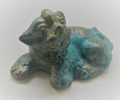 Scarce Circa 300-400Ad Ancient Roman Near Eastern Bronze Lion Figurine