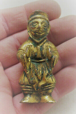 Unresearched Ancient Near Eastern Bronze Worshipper Figurine With Gold Gilding