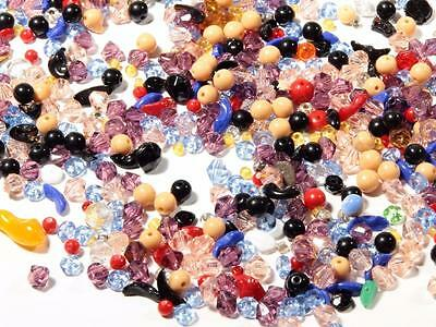 Lot (67g) vintage Czech Bohemian mixed round bicone rondelle spacer glass beads