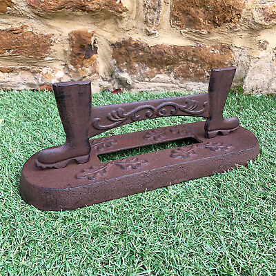 Antique Vintage Cast Iron Door Heavy Mud Wellies Shoe Welly Boot Scraper Cleaner