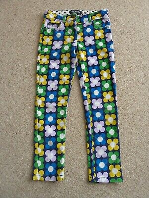 Girls Mini Boden Funky Flower Cord Adjustable Waist Trousers/Jeans Age 9