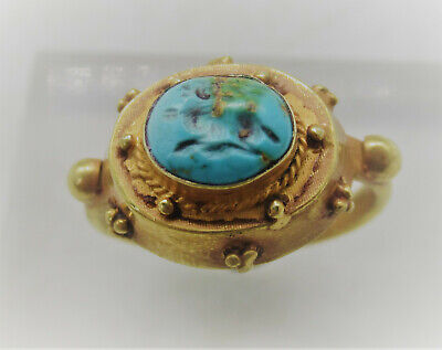 Superb Ancient Roman Near Eastern High Carat Gold Ring With Gazelle Intaglio
