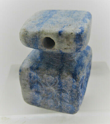 Ancient Sasanian Lapis Lazuli Multi Sided Bead Seal Pendant With Beast Impressio