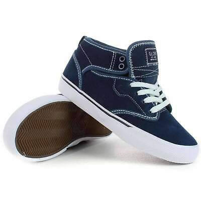 Globe Motley Mid Kids Shoes in Blue White |  Globe Boys High Top Trainers