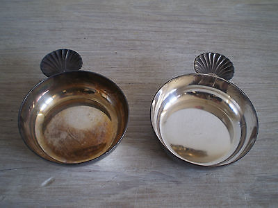 Pair Taste Wine Silver Metal Goldsmith Antique Deco Shell st Jacques