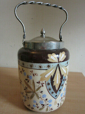 Antique Victorian European Custard Porcelain Biscuit jar, metal lid