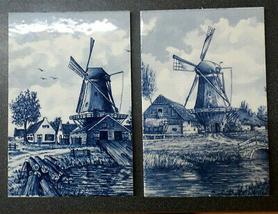 Windmill Scenes, Pair Oblong Blue and White Hanging Tiles, Very Good Condition