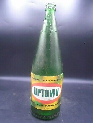 VINTAGE 1970's UPTOWN SPARKLING LEMON (750 ML) PAPER LABEL SODA POP BOTTLE