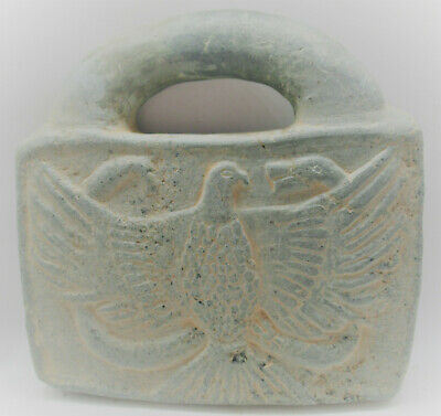 Circa 200Bc Ancient Bactrian Chlorite Stone Lock Weight Eagle Depicted Very Rare