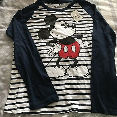 Disney Mickey Mouse Long Sleeve Stripe T-shirt Top BNWT Size 10 Free Postage!