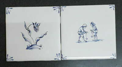 Pair Blue and White Tiles Unused Good Condition