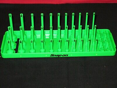 "SNAP ON TOOLS 1/4"" A/F SAE Post 3-Row Socket Tray in Extreme Green"