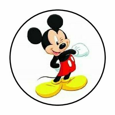 """48 Mickey Mouse Winking Envelope Seals Labels Stickers 1.2"""" Round"""